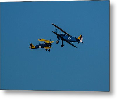 Biplanes Near Collision 5x7 Metal Print