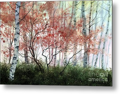 Metal Print featuring the painting Birch Forest by Sergey Zhiboedov