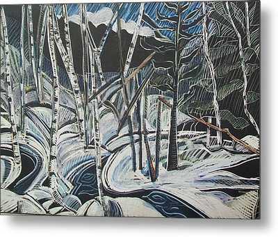 Birch Forest, Winter Metal Print by Grace Keown