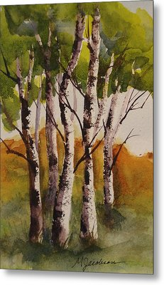Metal Print featuring the painting Birch by Marilyn Jacobson