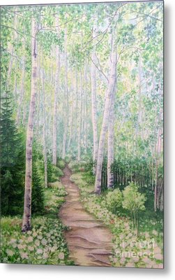 Metal Print featuring the painting Birch Path by Inese Poga