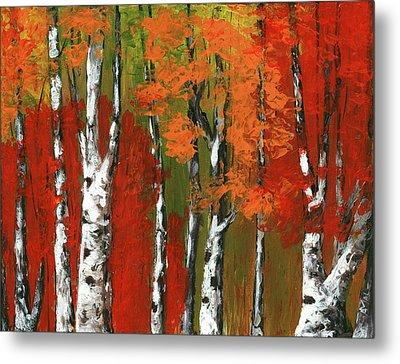 Birch Trees In An Autumn Forest Metal Print by Anastasiya Malakhova