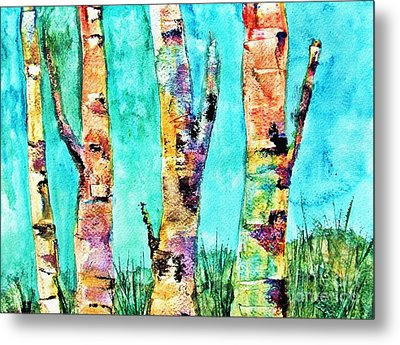 Watercolor Painting Of Birched Trees  Metal Print