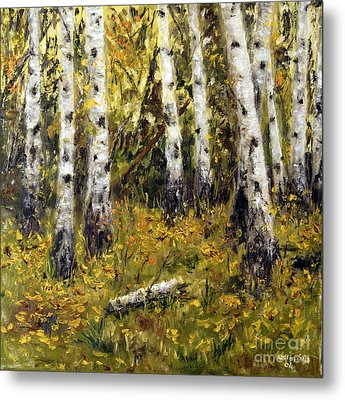 Metal Print featuring the painting Birches by Arturas Slapsys