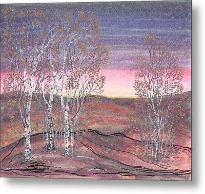 Birches At Dawn Metal Print