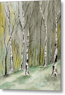 Birches Before Spring Metal Print