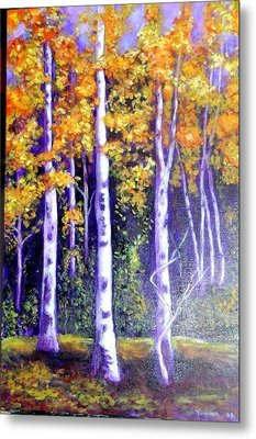 Birches In Canadian Fall Metal Print by Marie-Line Vasseur