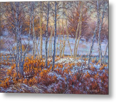 Birches In First Snow Metal Print by Fiona Craig