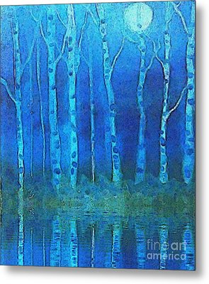 Birches In Moonlight Metal Print by Holly Martinson