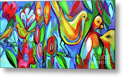 Bird And Floral Abstract Metal Print