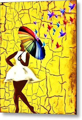 Bird Brella Metal Print