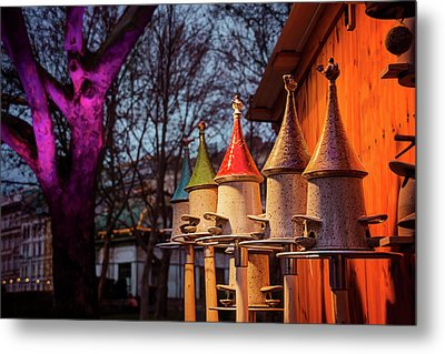 Bird Feeders At Karlsplatz Christmas Market Vienna  Metal Print