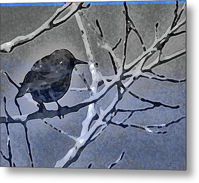 Bird In Digital Blue Metal Print