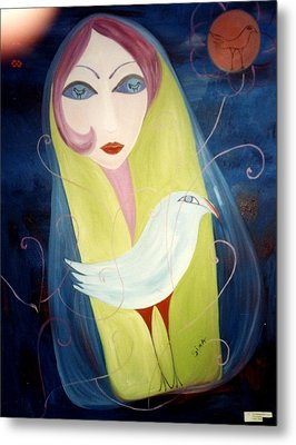 Metal Print featuring the painting Bird In The Moon by Sima Amid Wewetzer