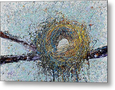 Bird Nest Painting Metal Print by Michael Glass