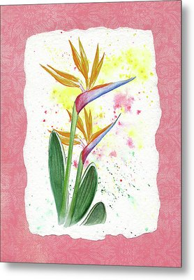 Metal Print featuring the painting Bird Of Paradise Watercolor Splashes by Irina Sztukowski