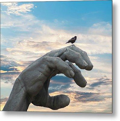 Bird On Hand Metal Print