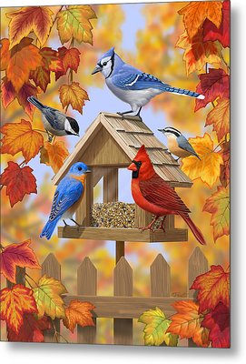 Bird Painting - Autumn Aquaintances Metal Print by Crista Forest