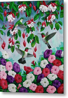 Bird Painting - Hummingbird Heaven Metal Print by Crista Forest