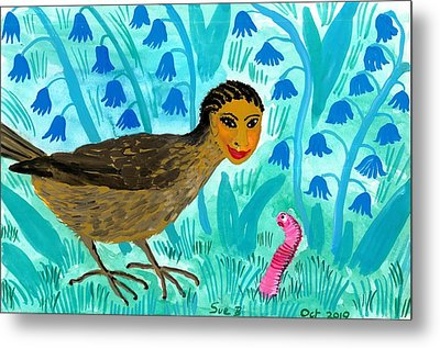 Bird People Blackbird And Worm Metal Print