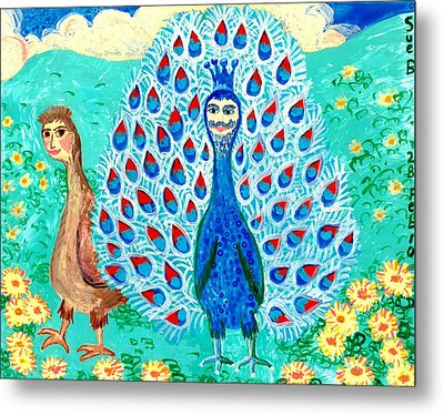 Bird People Peacock King And Peahen Metal Print by Sushila Burgess