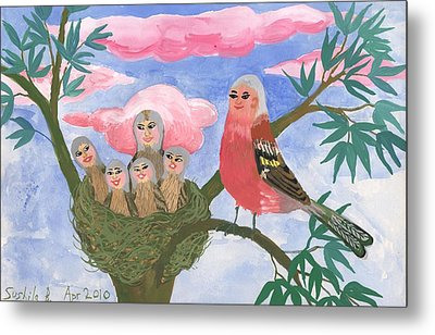 Bird People The Chaffinch Family Metal Print
