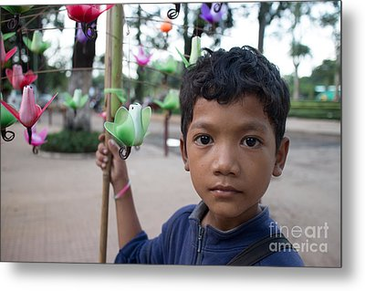Bird Selling Boy Metal Print