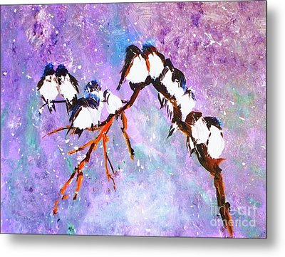 Metal Print featuring the painting Bird Snowfall Limited Edition Print 1-25 by Donna Dixon