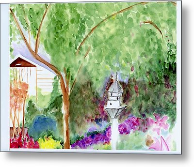 Metal Print featuring the painting Birdhouse by Jamie Frier