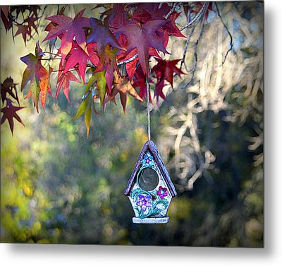 Metal Print featuring the photograph Birdhouse Under The Autumn Leaves by AJ Schibig