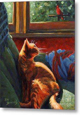 Birdie In The Window Metal Print by Pat Burns