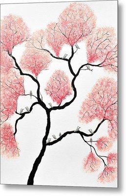 Birds And Flowers Metal Print by Sumit Mehndiratta