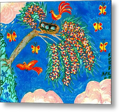 Birds And Nest In Flowering Tree Metal Print