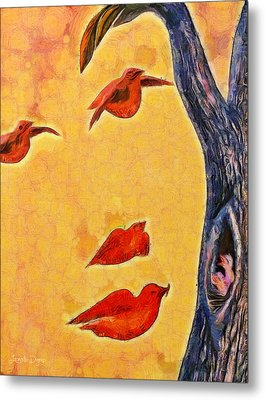Birds And Tree - Da Metal Print