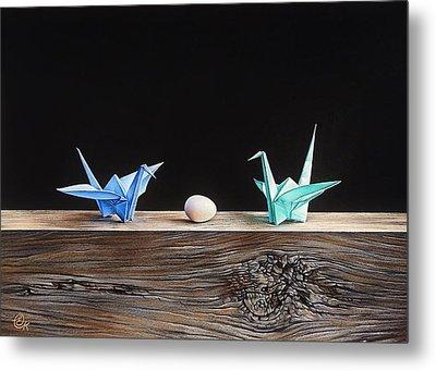 Metal Print featuring the drawing Birds by Elena Kolotusha