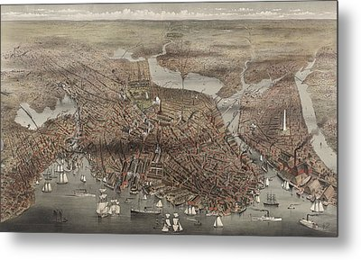 Birds Eye View Of The City Of Boston, Circa 1873 Metal Print
