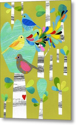 Birds Of The Forest Metal Print by Anne Vasko