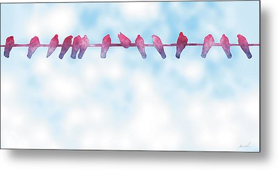 Birds On A Wire 3 Metal Print by The Art of Marsha Charlebois