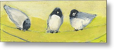 Birds On A Wire Metal Print by Jennifer Lommers