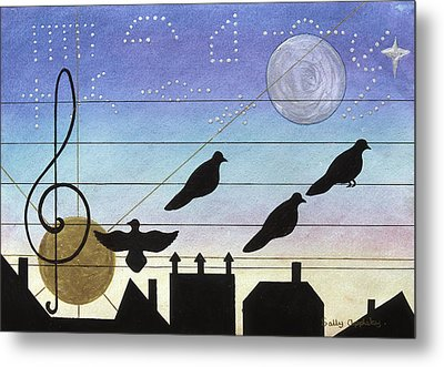 Birds On Wires Metal Print by Sally Appleby