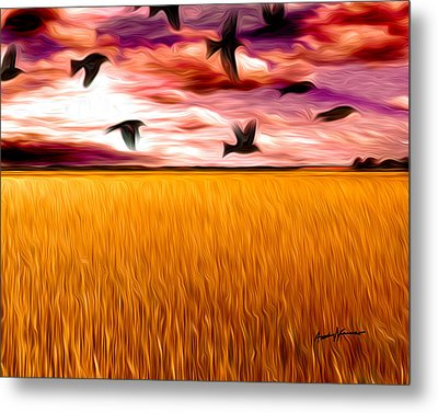 Birds Over Wheat Field Metal Print by Anthony Caruso