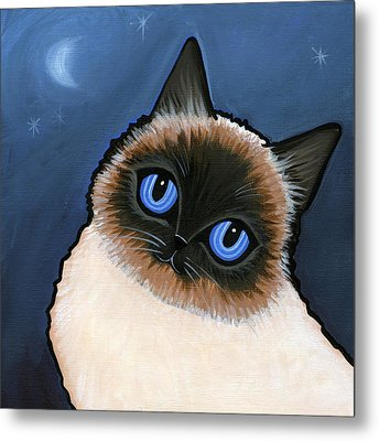 Birman Blue Night Metal Print by Leanne Wilkes