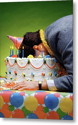 Birthday Depression - Man's Face Buried In A Birthday Cake Metal Print
