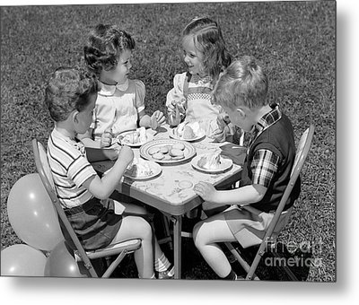 Birthday Party On The Lawn, C.1950s Metal Print