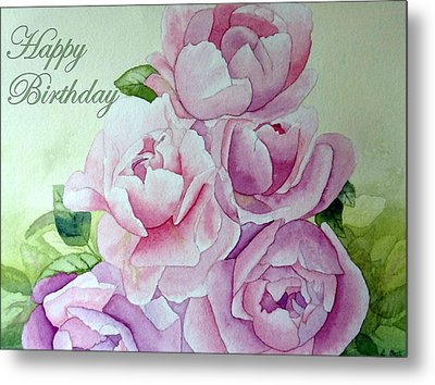 Birthday Peonies Metal Print