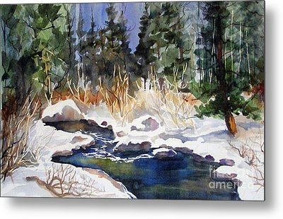 Metal Print featuring the painting Bishop Creek Winter by Pat Crowther