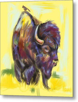Bison And Bird Metal Print by Go Van Kampen