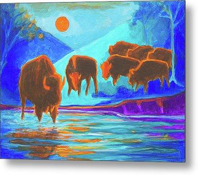 Bison Art - Seven Bison At Sunrise Yosemite Painting T Bertram Poole Metal Print by Thomas Bertram POOLE