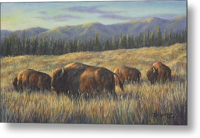 Metal Print featuring the painting Bison Bliss by Kim Lockman