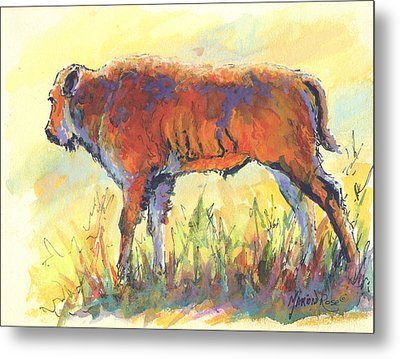 Bison Calf Metal Print